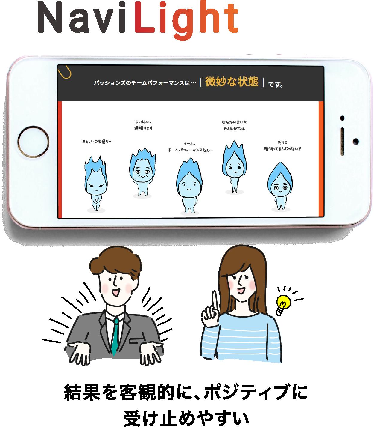 NaviLightは結果を客観的に、ポジティブに受け止めやすい